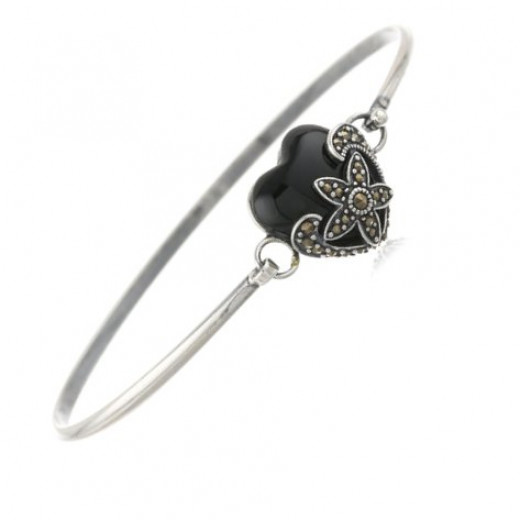 """Sterling Silver Oxidized Marcasite and Black Agate Heart Bangle Bracelet, 7.25"""""""