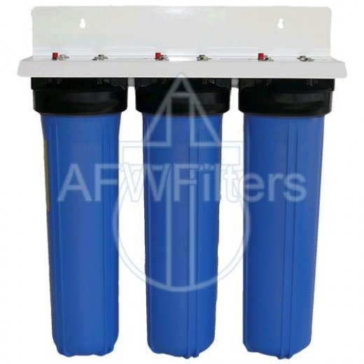 Activated alumina filter removes arsenic +5 AND +3, & fluoride to provide safer water Radial flow carbon removes chlorine, chloramines, odors, and chemicals with minimal pressure loss Sediment filter filters out particulates, sand, and sediment down