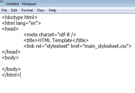 The code as it appears when entered using the Notepad editor. Notice that there is no special formatting.