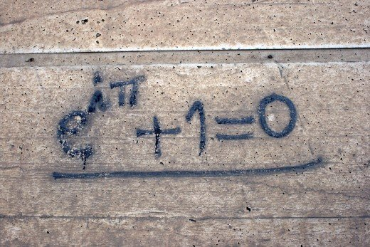 Euler's identity in graffiti format. The identity unifies e, i, pi, 1, and 0 in deceptively simple harmony.