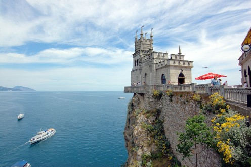 The Swallow's Nest on the Black Sea in Crimea, Ukraine.