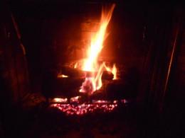 A cozy fireplace