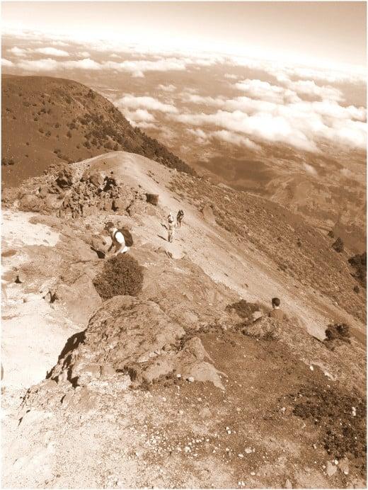 Reaching the summit of Acatenango.