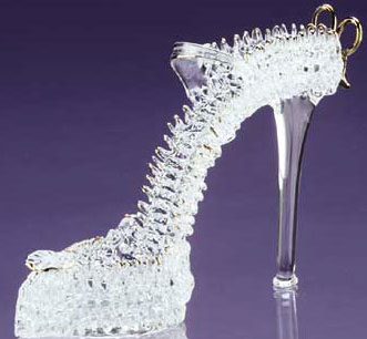 Glass designer shoes