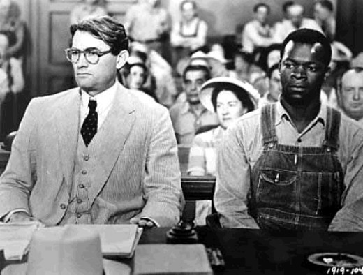 Gregory Peck as Atticus Finch and Brock Peters as Tom Robinson in To Kill a Mockingbird.