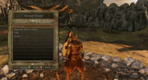 Speak to the Emerald Herald at the Far Fire Bonfire to level up.