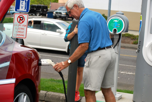 Free re-charging for electric cars along Interstate-5 along the West Coast of the United States