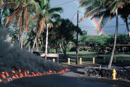 Lava enters Harry Ka'ina Brown Park in Kalapana. A few days later, the entire park lay buried underneath 50 feet of lava!