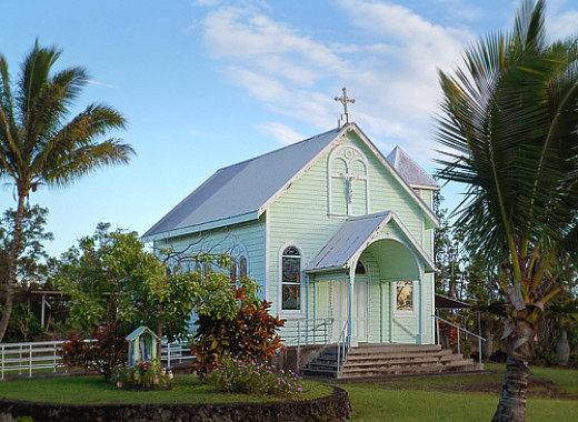Star of the Sea Church at its current location near the end of Hwy 130 in Kalapana