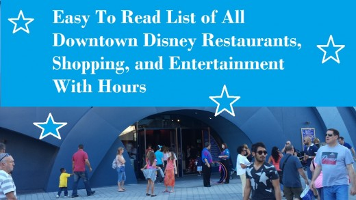 Easy to read and sort list of Disney restaurants, shopping and attractions.