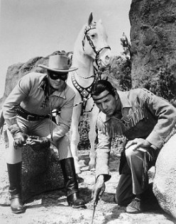 Clayton Moore, Lone Ranger, and Jay Silverhills stars of The Lone Ranger