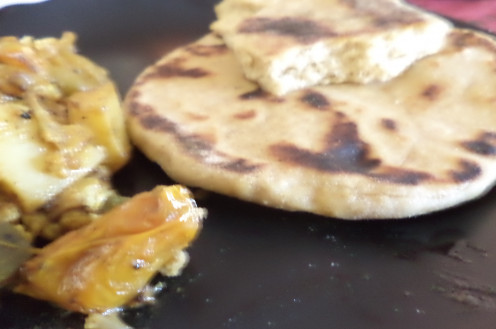 Honey Naan with Cauliflower and Potato Curry
