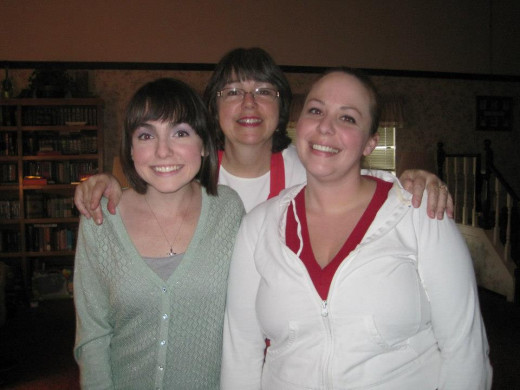 me, my mom, and cousin Kristen at my grandpa's house