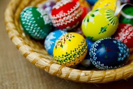 Coloring and painting eggs are a tradition at Easter time.