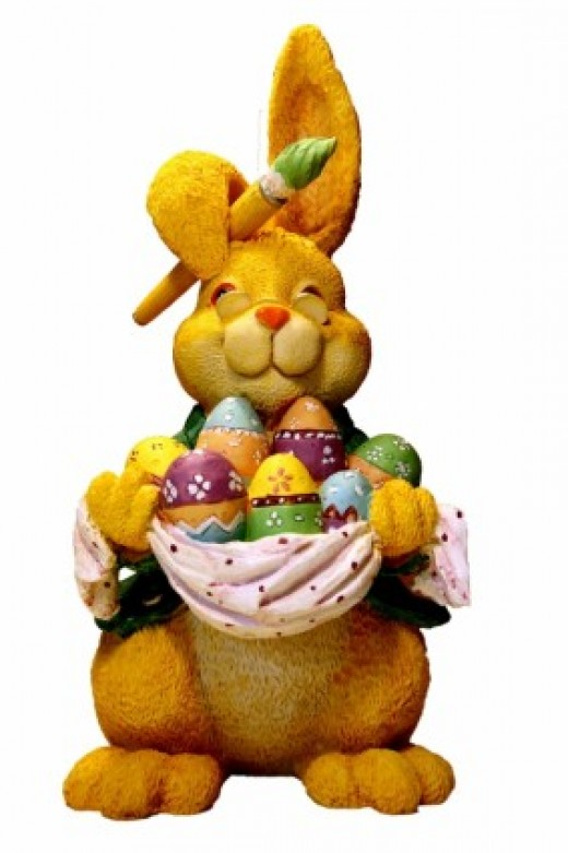 Traditional Easter bunny with her colorful Easter eggs