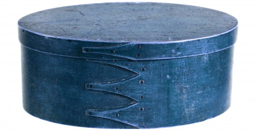 Oval Shaker box painted deep blue