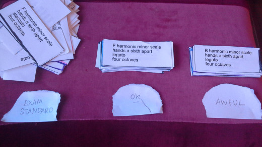 Split the cards into 3 or more piles. With one as your exam standard pile. The goal is to get every card in that pile before your exam!