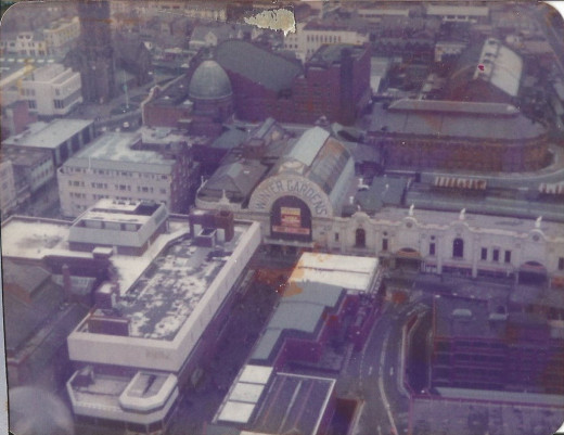 View from the Top of the Tower looking down towards the Winter Gardens c1980