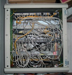 A rather sloppy example of the physical layer: a wiring closet