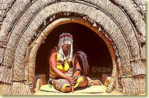 A Sangoma in his Ndumba.