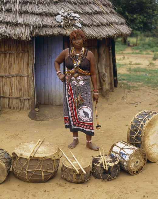 A Sangoma woman at her Ndumba.