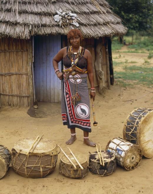 A Sangoma woman at her Ndumba.