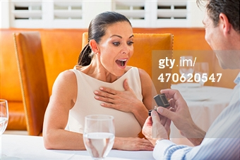 He  proposed to her  and she looks surprised.