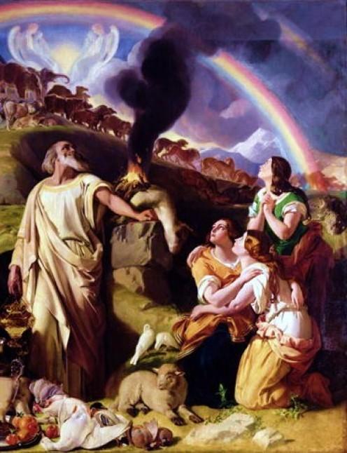 Noah's sacrifice http://en.wikipedia.org/wiki/File:NoahsSacrifice.JPG