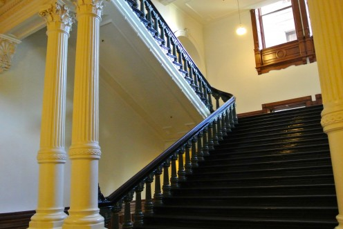 Interior staircase at the Texas State Capitol Building in Austin, Texas