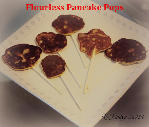 Use the flourless pancake recipe to make pancake pops that are easy and fun for the kids to eat.  Dip in your favorite syrup!