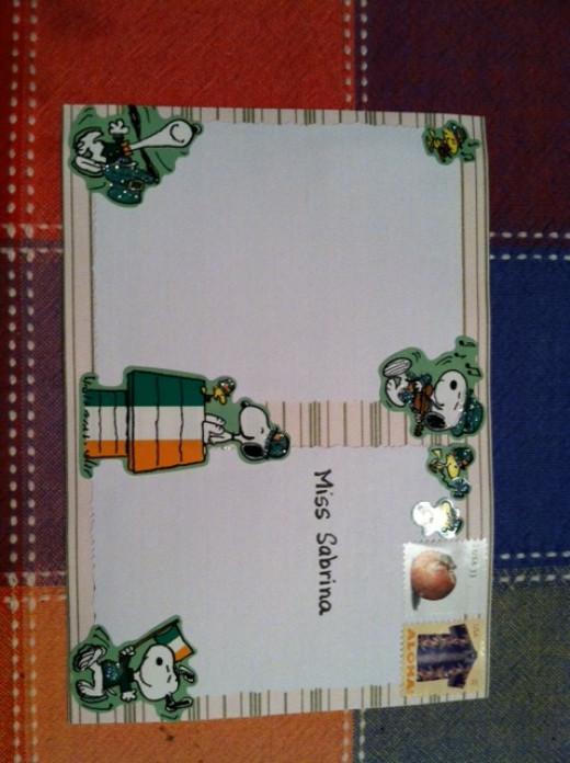 message side of postcard