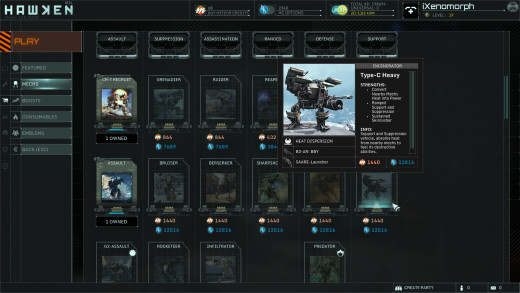 The many selections of mech types in HAWKEN