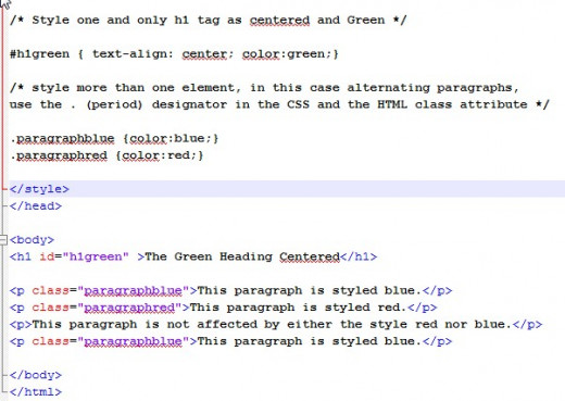 In this example we styled a single element  as green and centered. The paragraphs we alternated red and blue using class.