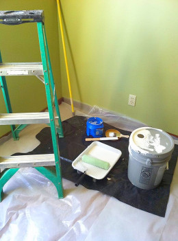 Set up a good work station with all your ceiling painting essentials.