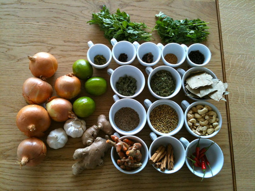 File: Spices/seasonings, herbs and vegetables.jpg 3 March 2012 13:14 Author Zak Greant from Vancouver, Canada CC-BY-2.0