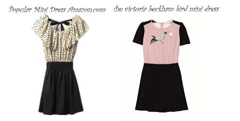 Victoria Beckham Bird Print Dress www.lyst.com and frilly top mini skirt amazon.com