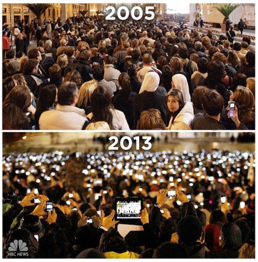 Crowds at the Vatican after the elections of Pope Benedict (top) and Pope Francis.