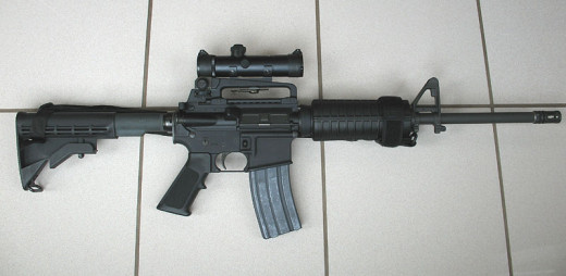 An AR-15. Semi-Automatic .223 or 5.56mm rifle.