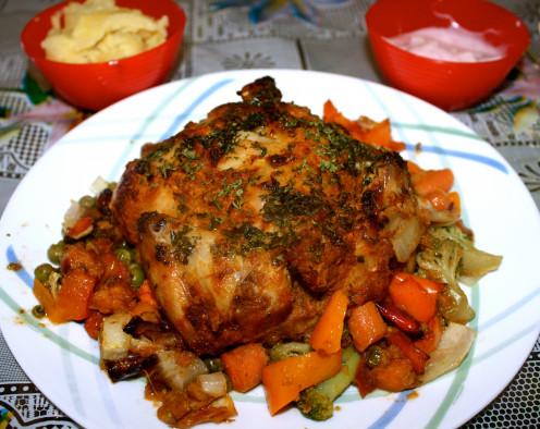 Honey Glazed Masala Cornish Hen with garlic mashed potatoes and Apple-Strawberry yogurt medley