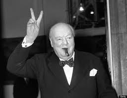 Winston Churchill hand gestures V for victory