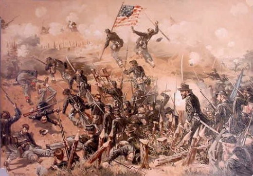 Painting - Union troops attack enemy fieldworks