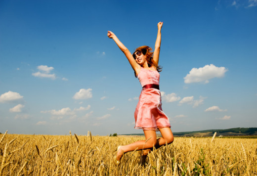 This is from the article The New and Improved Happiness and How to Tell If You are Happy. Woman jumping for joy.