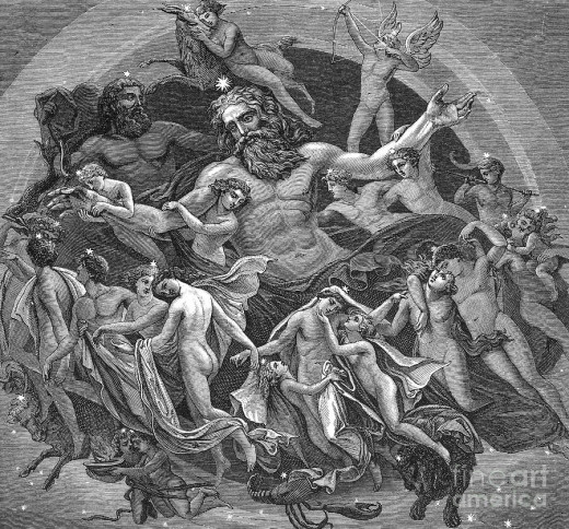 Uranus surrounded by other primeval deities