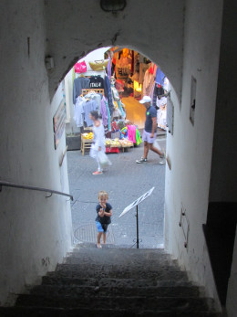 My son at the bottom of the Ancient Staircases, which lead off Amalfi's main street - a mysterious detour from the busy hub below.