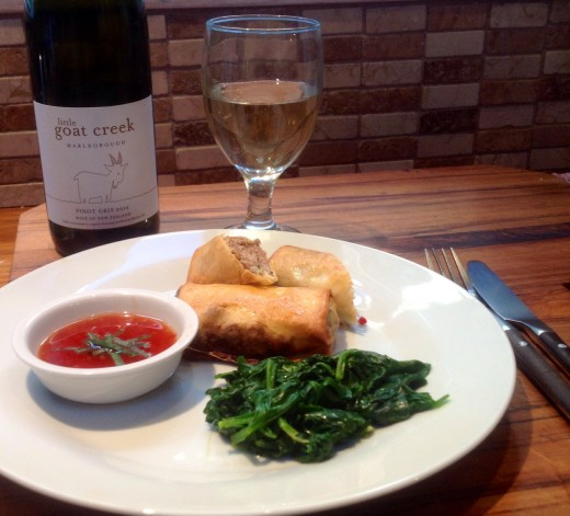 Pork Spring Rolls with Spinach