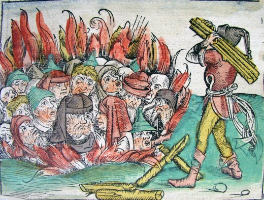 """Burning of the Jews"", an Illustration from the Nuremberg Chronicle, by Hartmann Schedel (1440-1514)."