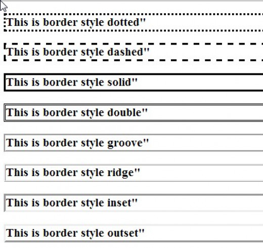 Examples of border styles.
