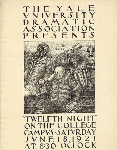 "Poster for performances of William Shakespeare's play ""Twelfth Night,"" performed by the Yale University Dramatic Association in 1921"