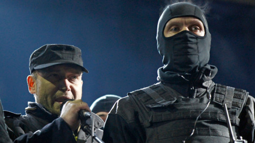 Dmytro Yarosh (left), leader of The Right Sector. The group has recently announced that they will organize themselves as a political party and run in the Presidential Election.