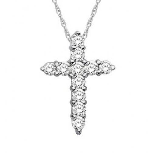 Petite Diamond Cross Pendant Necklace 14k White Gold (0.33ct)